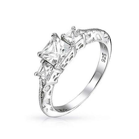 Art Deco Style Filigree 3 CT Round Solitaire 3 Stone Past Present Future Promise CZ Engagement Ring 925 Sterling (Art Deco Style Engagement Ring)