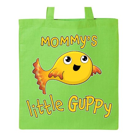 - Mommy's Little Guppy- cute yellow fish Tote Bag Lime Green One Size