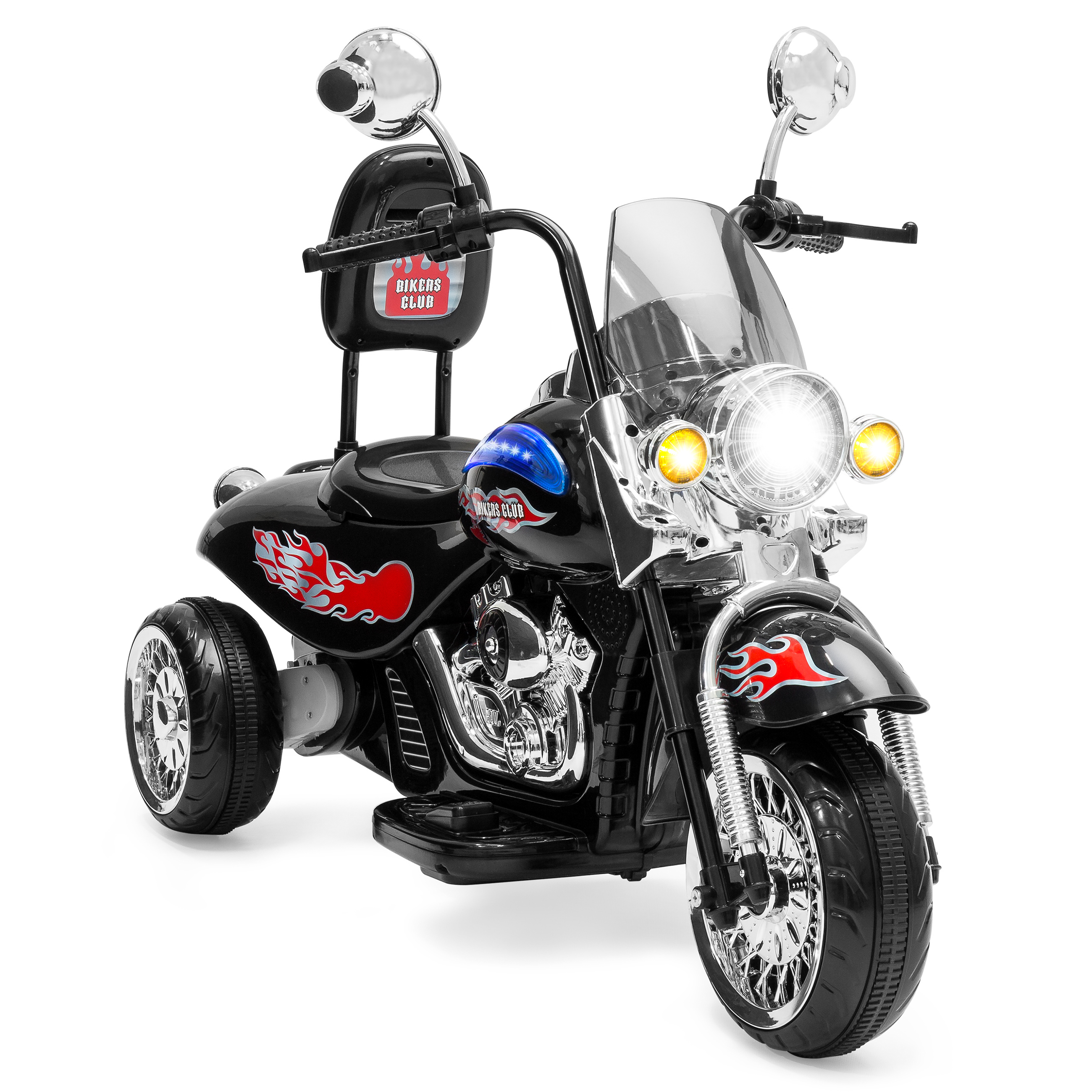 Best Choice Products 12V Kids Ride-On Motorcycle Chopper w/ Built-In Music, MP3 Plug-In - Black