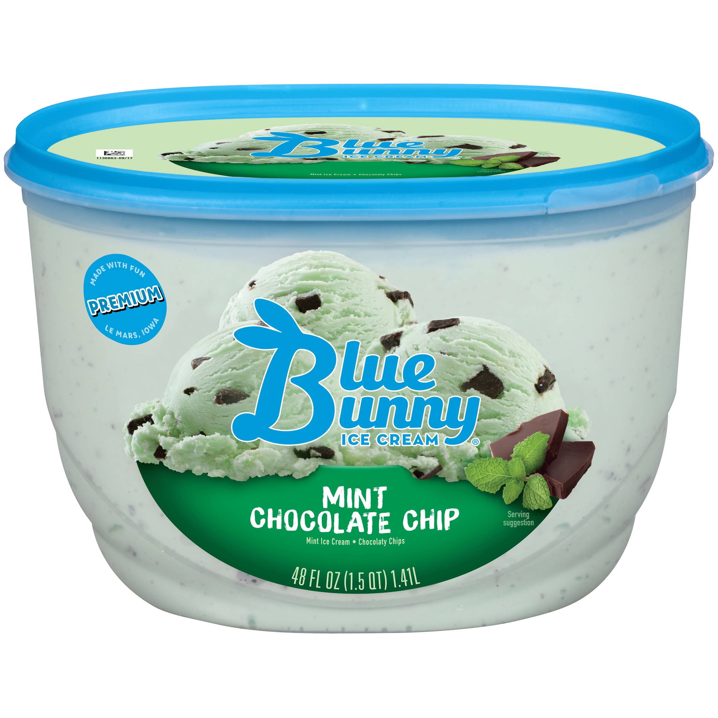 Blue Bunny Mint Chocolate Chip Ice Cream, 48 fl oz