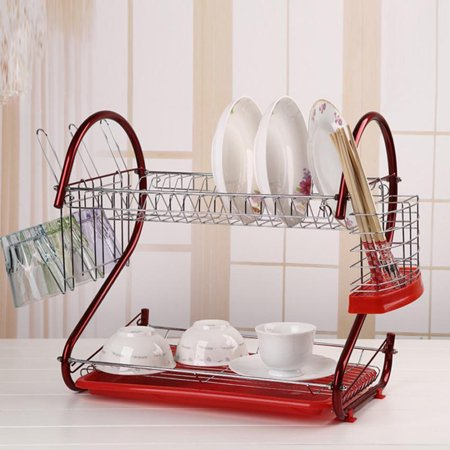 2-Tier Dish Drying Rack Stainless Steel Drainer Kitchen Storage , Red