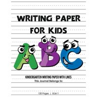 Kindergarten writing paper with lines for ABC kids: 120 Blank handwriting practice paper with dotted lines (Paperback)