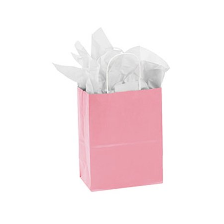 "Medium Pink Paper Shopping Bags - 8 ¼""L x 4 ¾""D x 10 ½""H - Case of 25 - Pink Paper Bags"