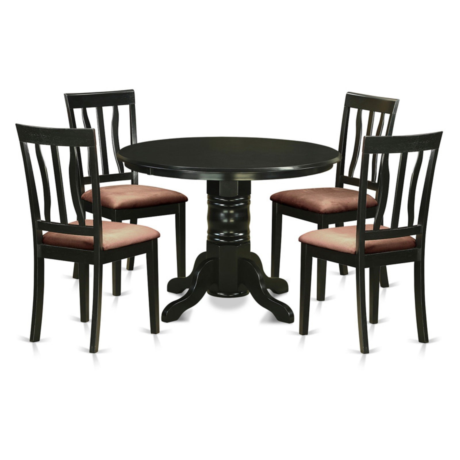 East West Furniture Shelton 5-Piece Splat Back Dining Table Set - SHAN5-BLK-C