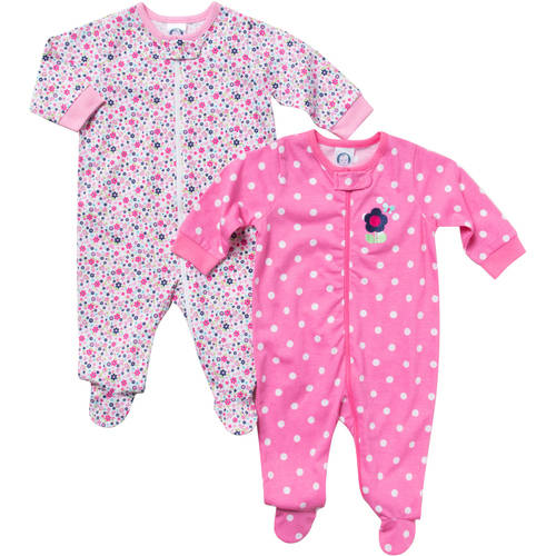 Gerber Newborn Baby Girl Zip Front Flower Sleep N Play  - 2 Pack