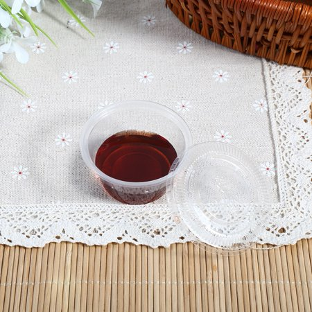 Yosoo 4 Sizes 50Pcs Disposable Plastic Clear Sauce Chutney Cups Boxes With Lid Food Takeaway Hot, Disposable Sauce Cup, Plastic Chutney Cup - image 3 de 7