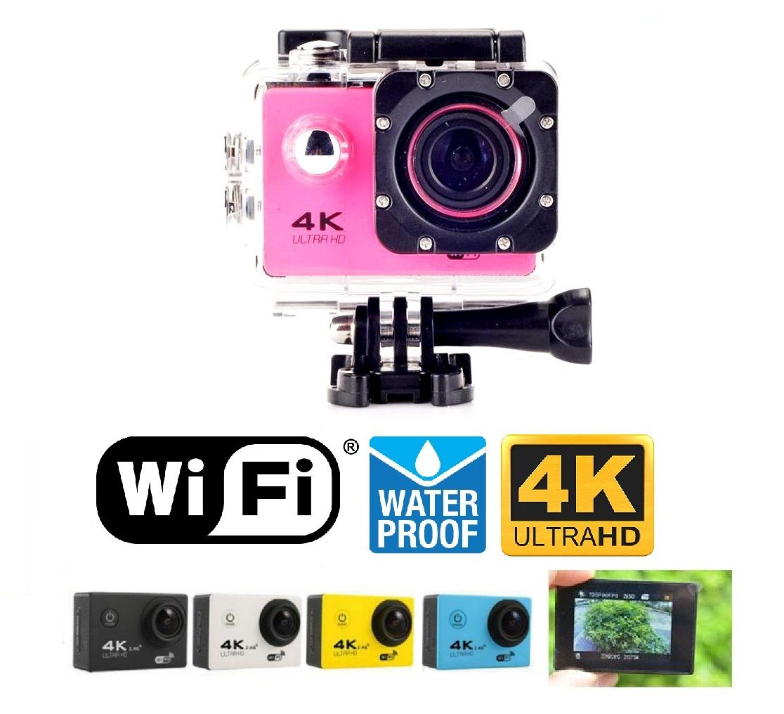 Black Sports Action Camera 4K HD Waterproof with Touch Screen LCD POV Adventure Camcorder with Accessories