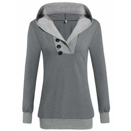 Women Pullover Hoodie Cowl Neck Sweatshirt Long Sleeve Hooded Jacket