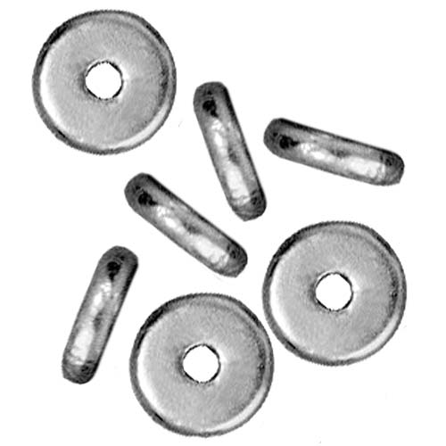 Rhodium Plated Lead-Free Pewter Disk Heishi Spacer Beads 6mm (10)