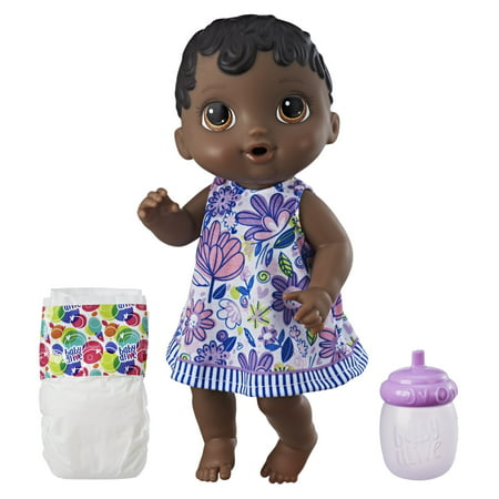 Baby Alive Sweet Spoonfuls Baby, Black Straight Hair, Ages 3 and up - Black Baby Doll