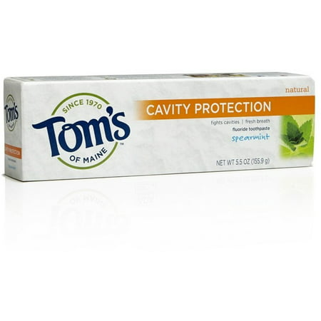Tom's Of Maine Cavity Protection Fluoride Toothpaste Spearmint, 5.5 OZ (Fluoride Water Detector)