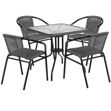 Flash Furniture Outdoor Patio Dining Set, Glass Table with 4 Rattan Chairs, Multiple Colors and Shapes ()