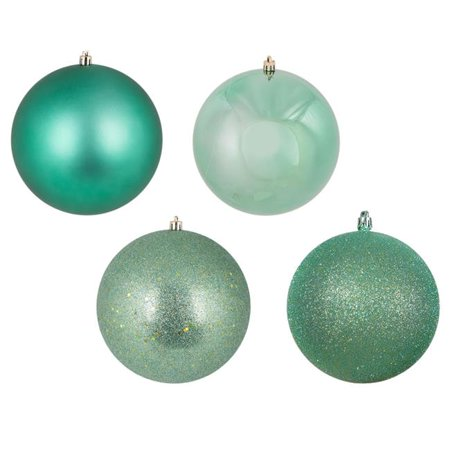 Sea Foam Green 4 Finish Assorted Ball Ornament, 2.4 in. - 60 per Box - image 1 de 1
