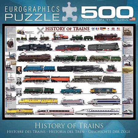 EuroGraphics History of Trains 500-Piece Puzzle, Small Box - Train Puzzles