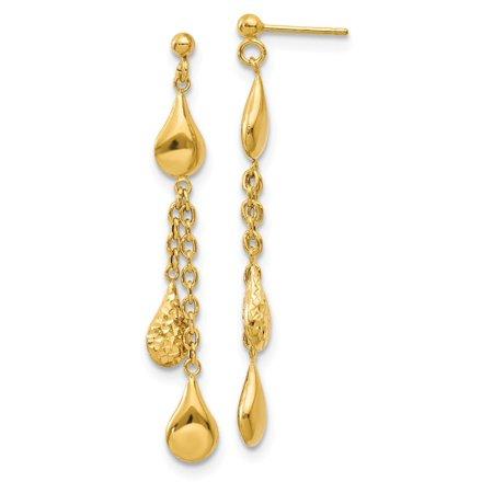 14K Yellow Gold Polished Tear Drop Dangle Post Earrings 55X11 Mm