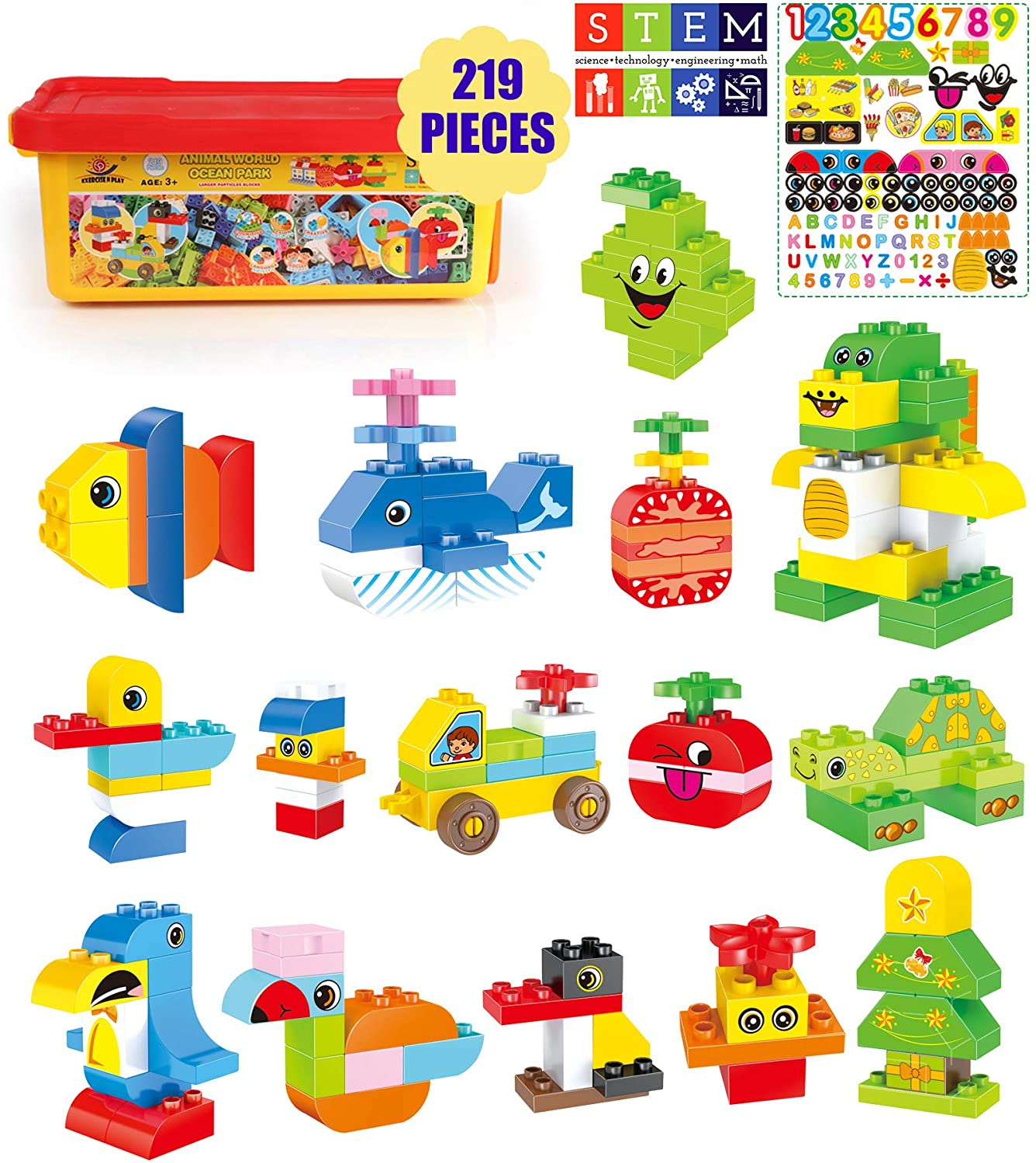 Exercise N Play Stem Building Block Set For Toddlers Diy Animals Construction Large Building Bricks Kit With Storage Box Educational Preschool Learning Toy Gift For Kids Boys Girls 219 Pieces