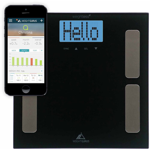 Weight Gurus Smartphone Connected Digital Body Fat Scale, Large Backlit LCD and Weightless Technology