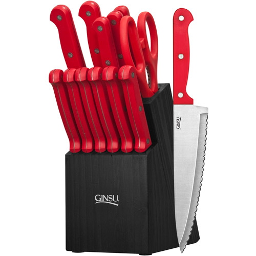 Ginsu Essential Series 14-Piece Cutlery Set with Black Block