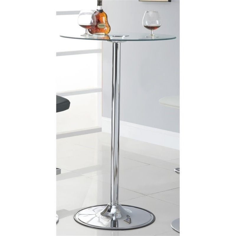 Bowery Hill Round LED Glass Top Pub Table in Chrome