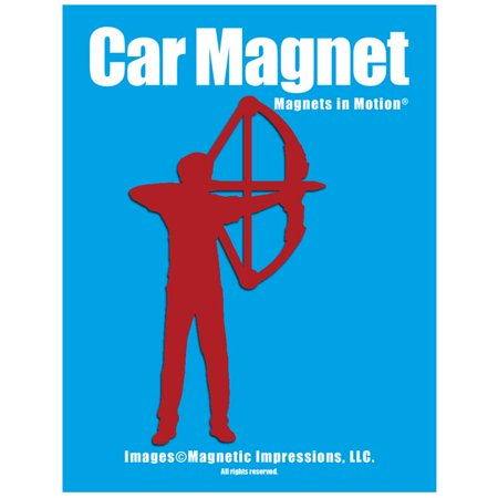 Archery Compound Bow Men's Car Magnet Red thumbnail