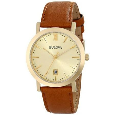 - Bulova Brown Leather Strap Watch