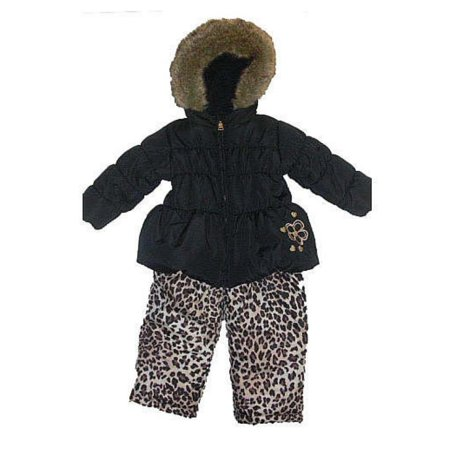 Pacific Trail Infant Toddler Girls Black Leopard Snowsuit Ski Bibs Coat Set