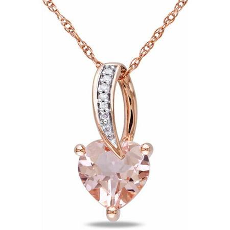 1-1/10 Carat T.G.W. Morganite and Diamond Accent 10kt Rose Gold Heart Women's Pendant Necklace, 17 Morganite White Pendant