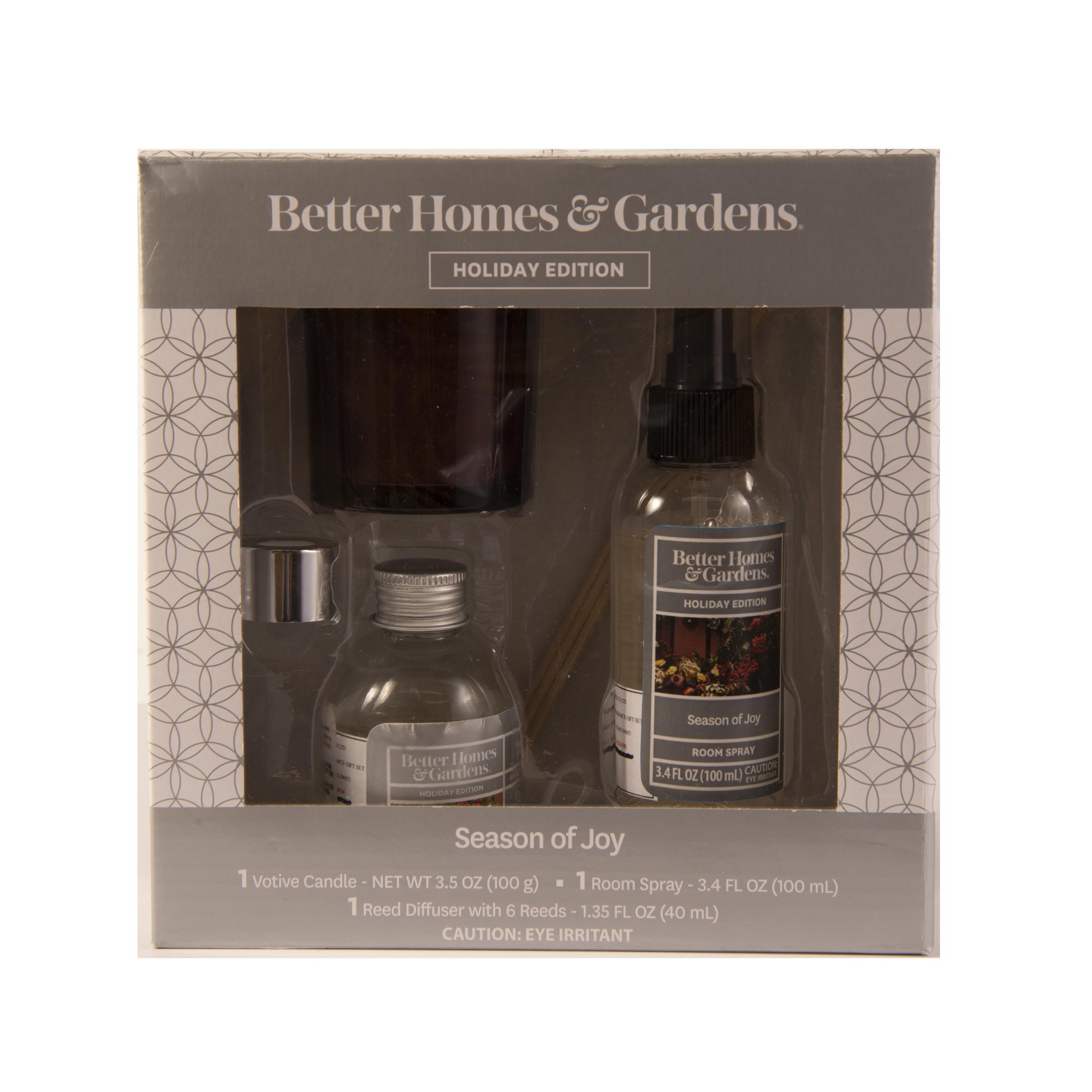 Better Homes & Gardens 3 Piece Seasons of Joy Home Fragrance Gift Set
