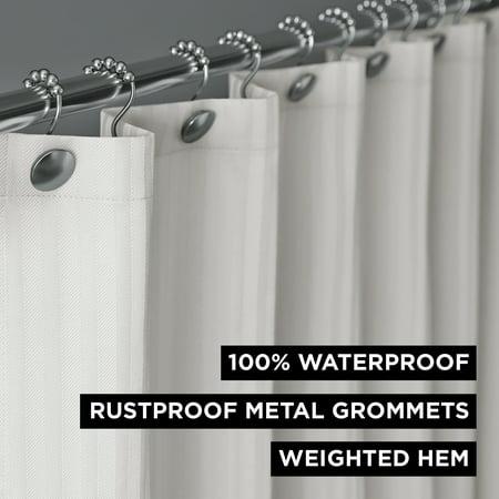 Hotel Style Herringbone Stripe 100% Waterproof Shower Curtain or Liner, 1 Each