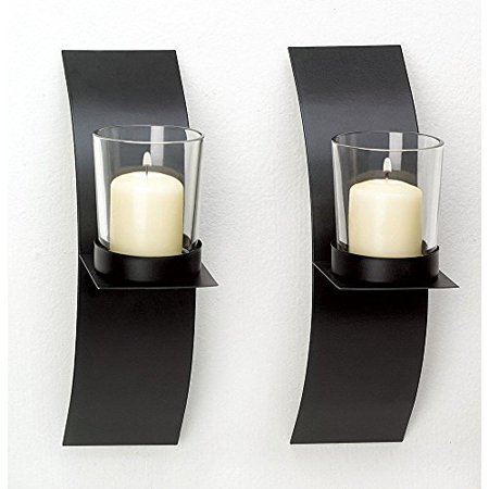 NEW Modern Art Candle Holder Wall Sconce Plaque Set Of Two ()