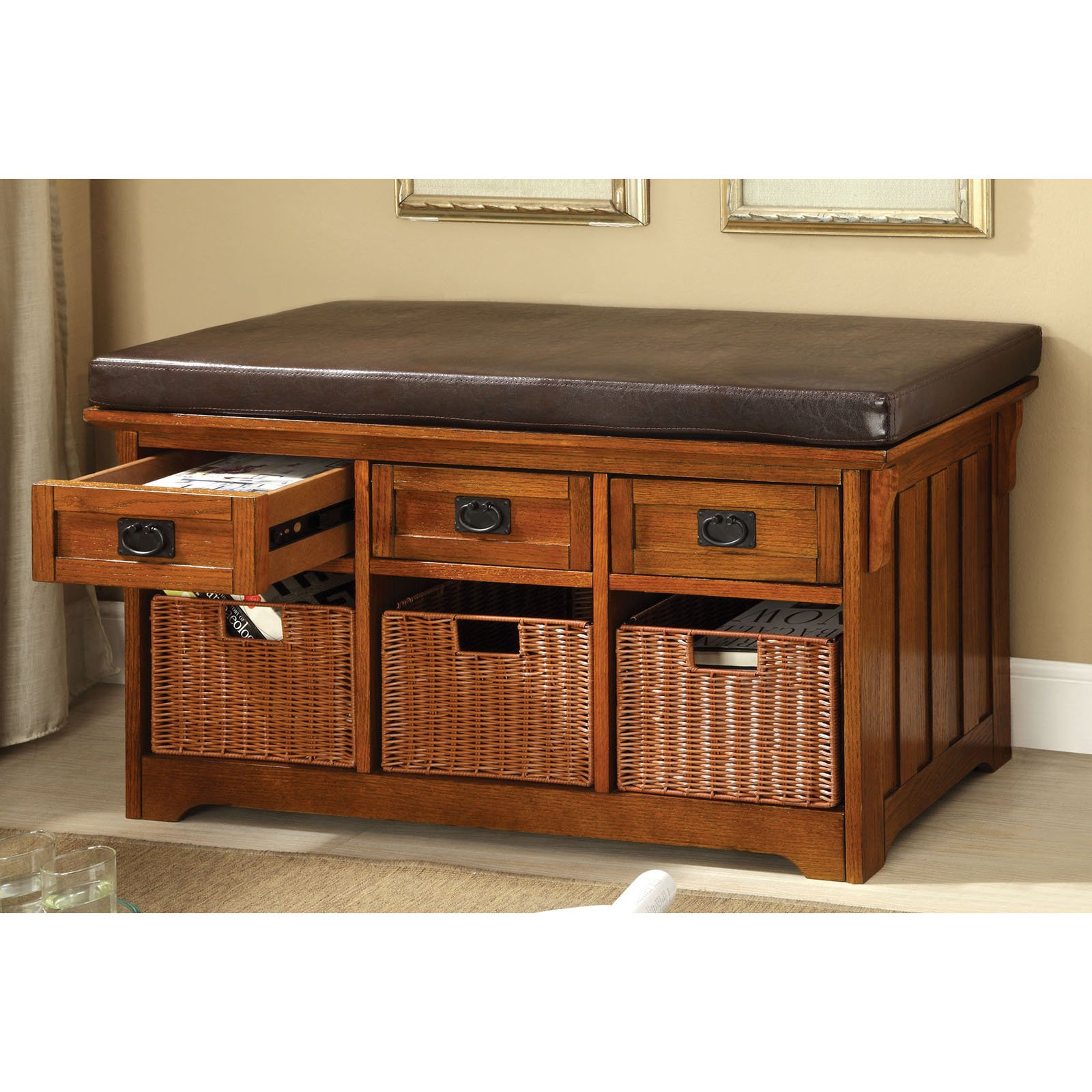Furniture Of America Doreen Padded Leatherette Bench With Storage Baskets    Antique Oak   Walmart.com