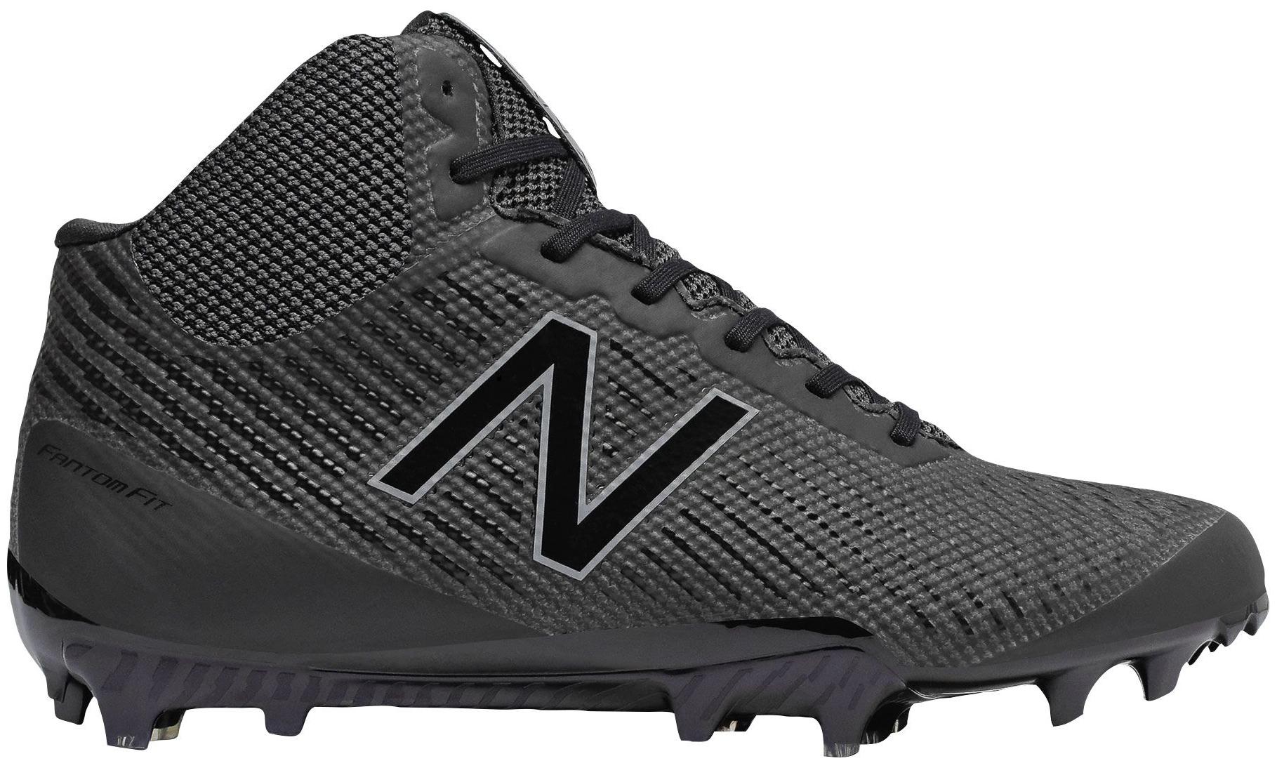 New Balance Men's Burn X Mid Lacrosse Cleats (Black Black, 6.5) by New Balance