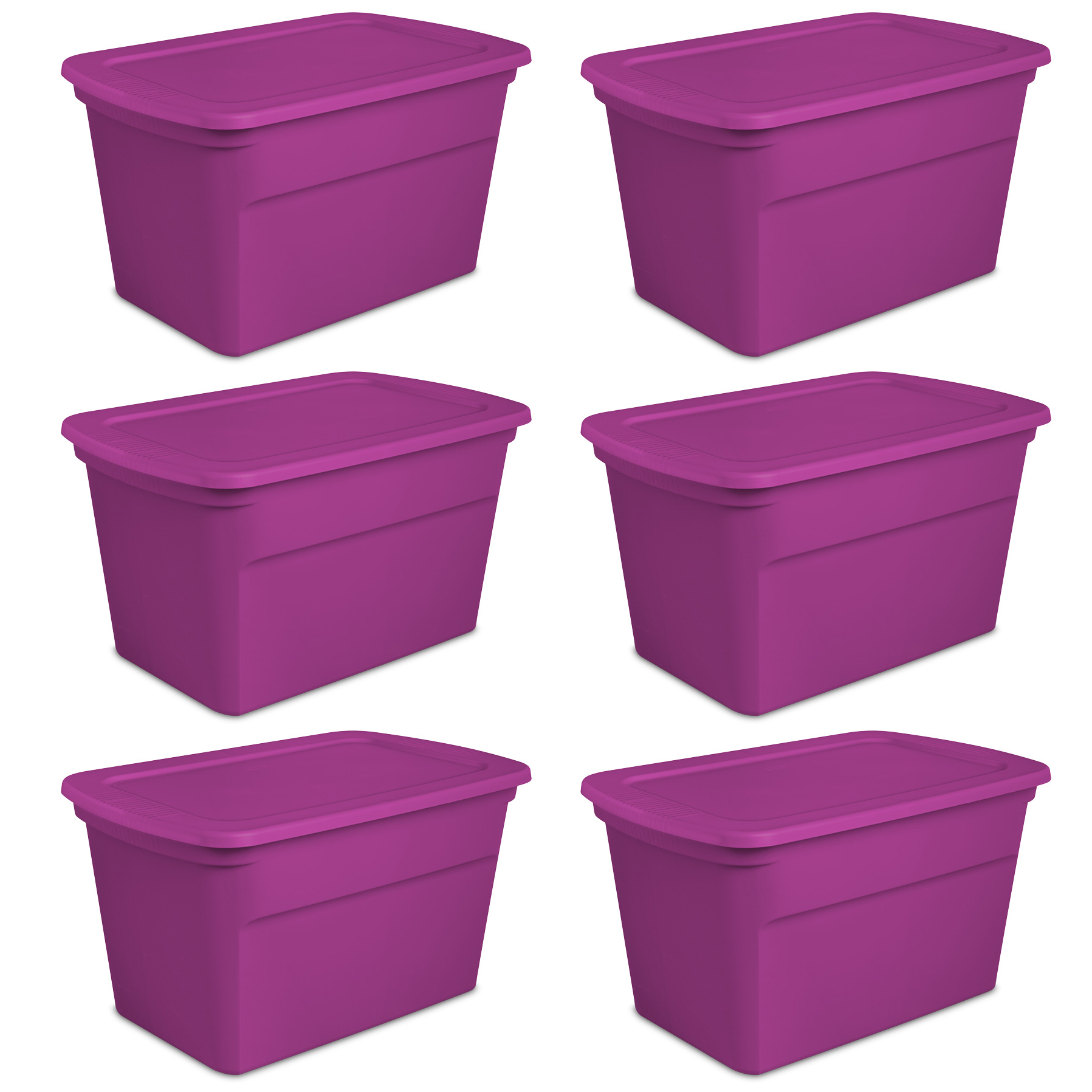 Sterilite 30 Gallon Plastic Storage Tote, Fuchsia Flight (6 Pack) | 17364W06