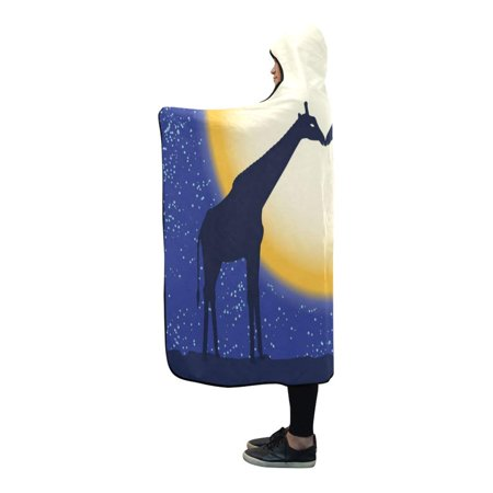 HATIART Hooded Blanket Giraffe Silhouettes Design Warm Mens Throws Womens Wearable Blankets 56x80 Inches - image 1 de 3