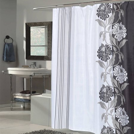 Beautiful Flower Stripe Motif Extra Long Fabric Shower Curtain, 84 ...