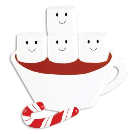 HOT CHOCOLATE FAMILY of 4 Personalized Christmas Tree Ornament