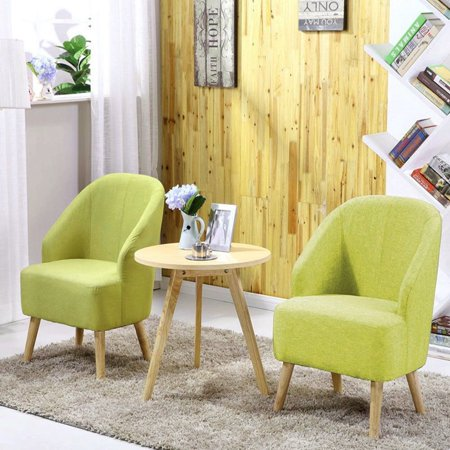 Set of 2 Elegant Upholstered Fabric Club Chair Accent Chair W/ Free Pillow Living Room (Green) ()