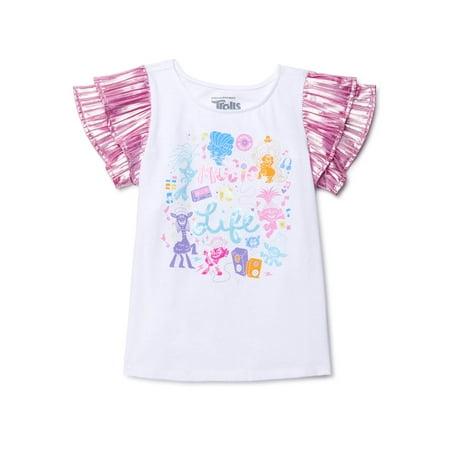 Trolls Girls 4-16 Flutter Short Sleeve Graphic T-Shirt Girls Short Sleeve Tee