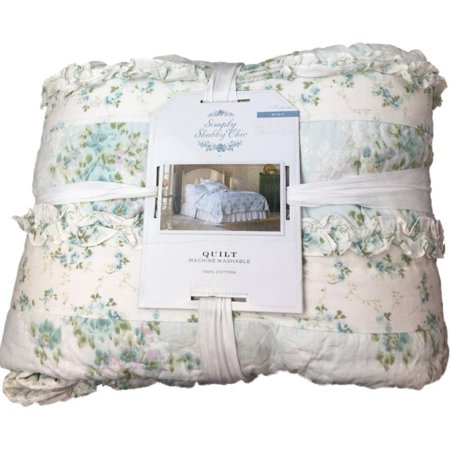 King Wallpaper - Simply Shabby Chic King Bed Quilt Blue Floral Ikat Wallpaper Cotton Bedding