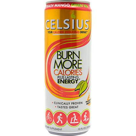 Celsius Green Tea Energy Drink, Peach Mango, 12 Fl Oz, Pack of 12