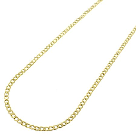 14k Yellow Gold 2mm Hollow Cuban Curb Link Necklace Chain 16