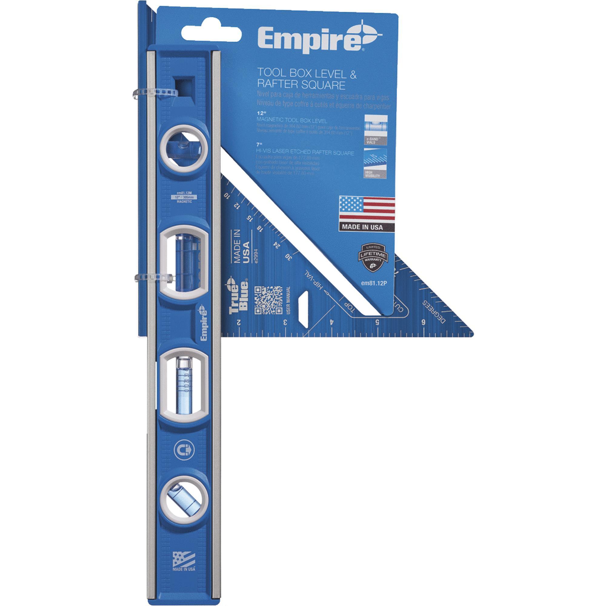 Empire True Blue Torpedo Level & Rafter Square Combo Tool Set
