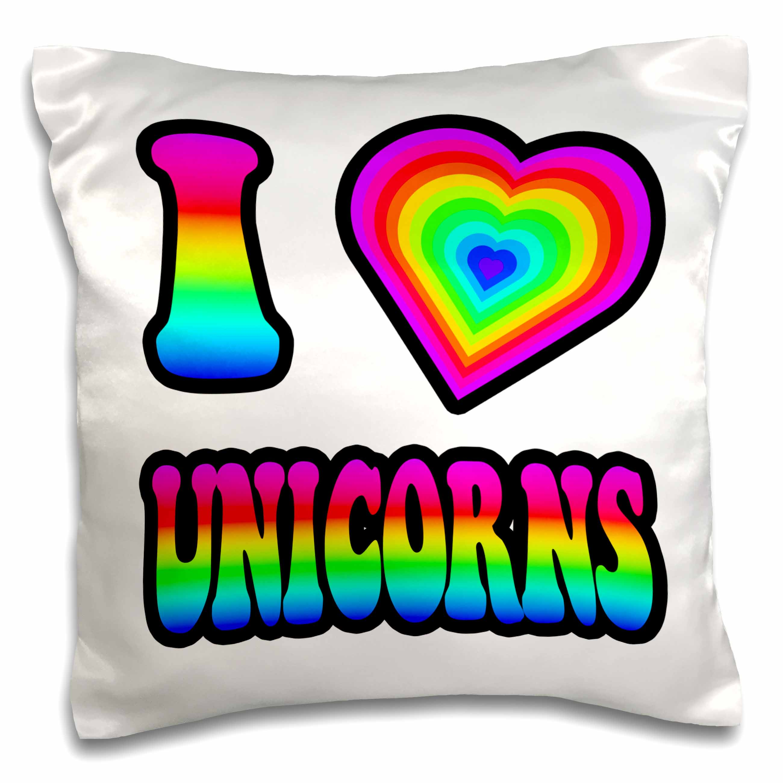 3dRose Groovy Hippie Rainbow I Heart Love Unicorns, Pillow Case, 16 by 16-inch