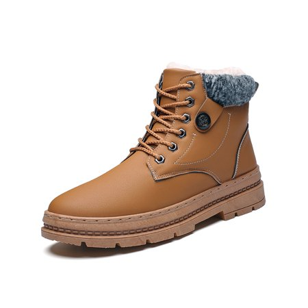 Men Waterproof Snow Boots Winter Warm Comfortable Lace Up Martin Shoes ()