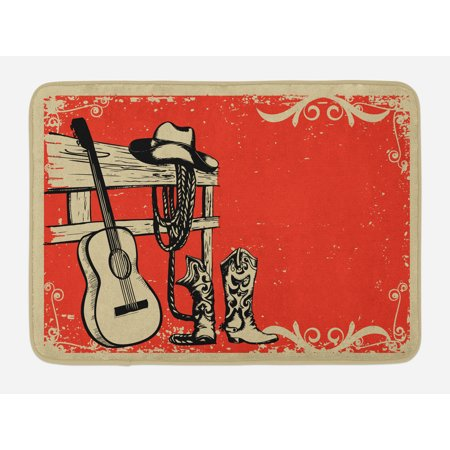 Western Bath Mat, Image of Wild West Elements with Country Music Guitar and Cowboy Boots Retro Art, Non-Slip Plush Mat Bathroom Kitchen Laundry Room Decor, 29.5 X 17.5 Inches, Beige Orange, Ambesonne