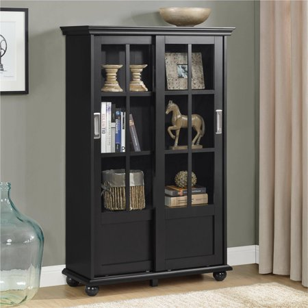 Ameriwood Home Aaron Lane Bookcase with Sliding Glass Doors, Multiple Colors
