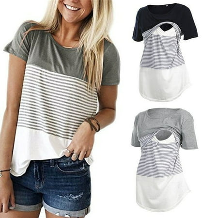 Women Short Sleeve Cotton Maternity Clothes Breastfeeding T-shirt Nursing Top