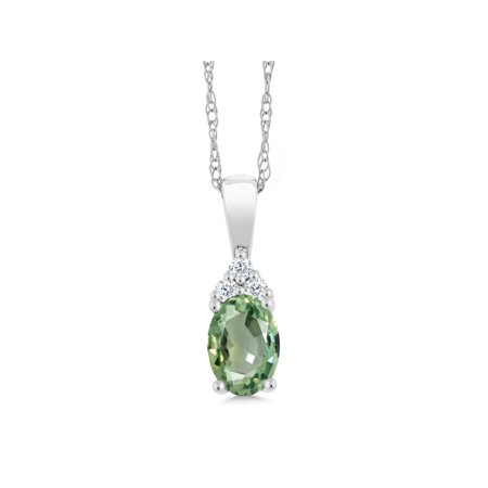 0.55 Ct Oval Green Sapphire and Diamond 10K White Gold Pendant With Chain