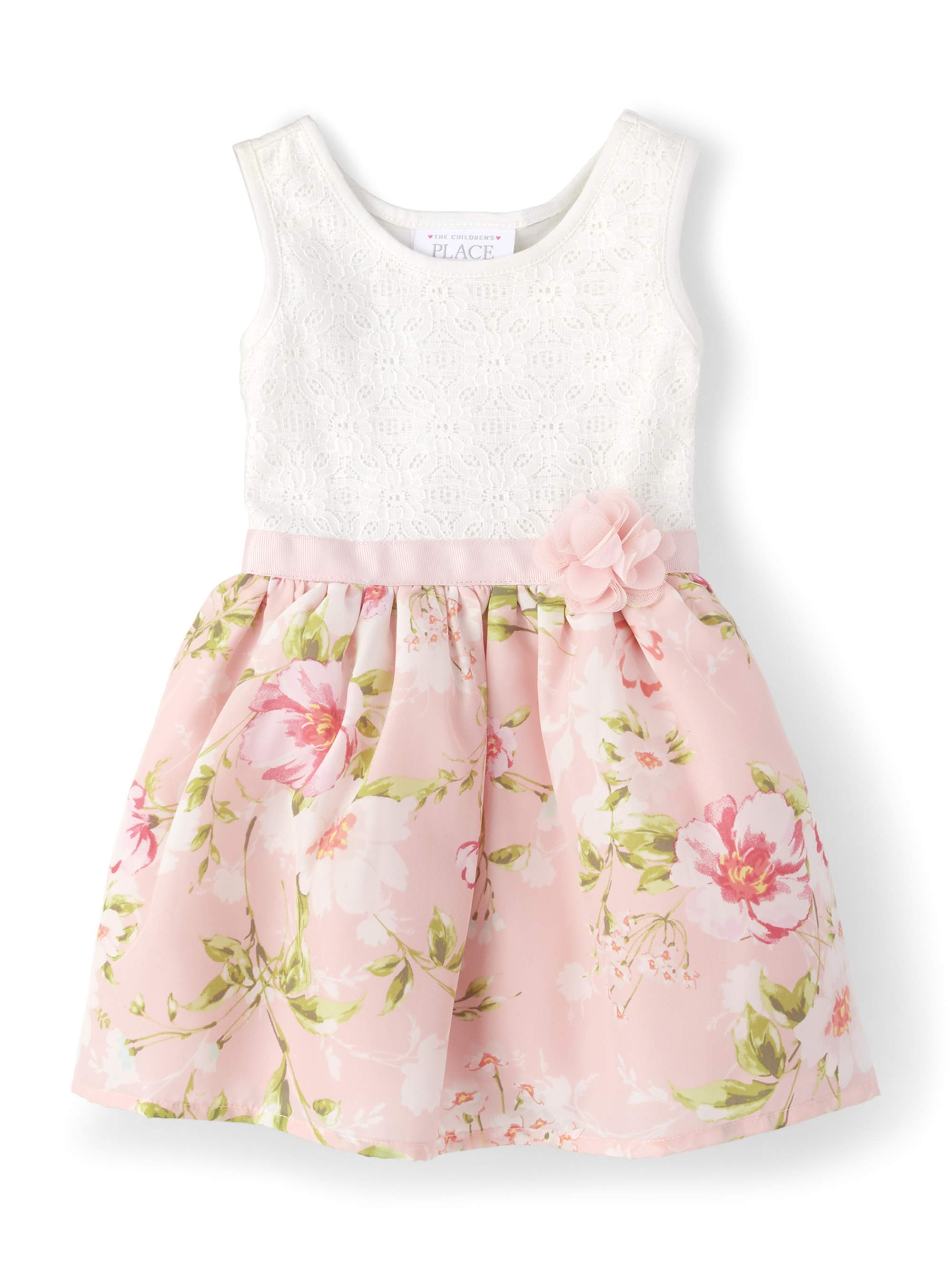 Knit to Woven Floral Lace Dress (Baby Girls & Toddler Girls)
