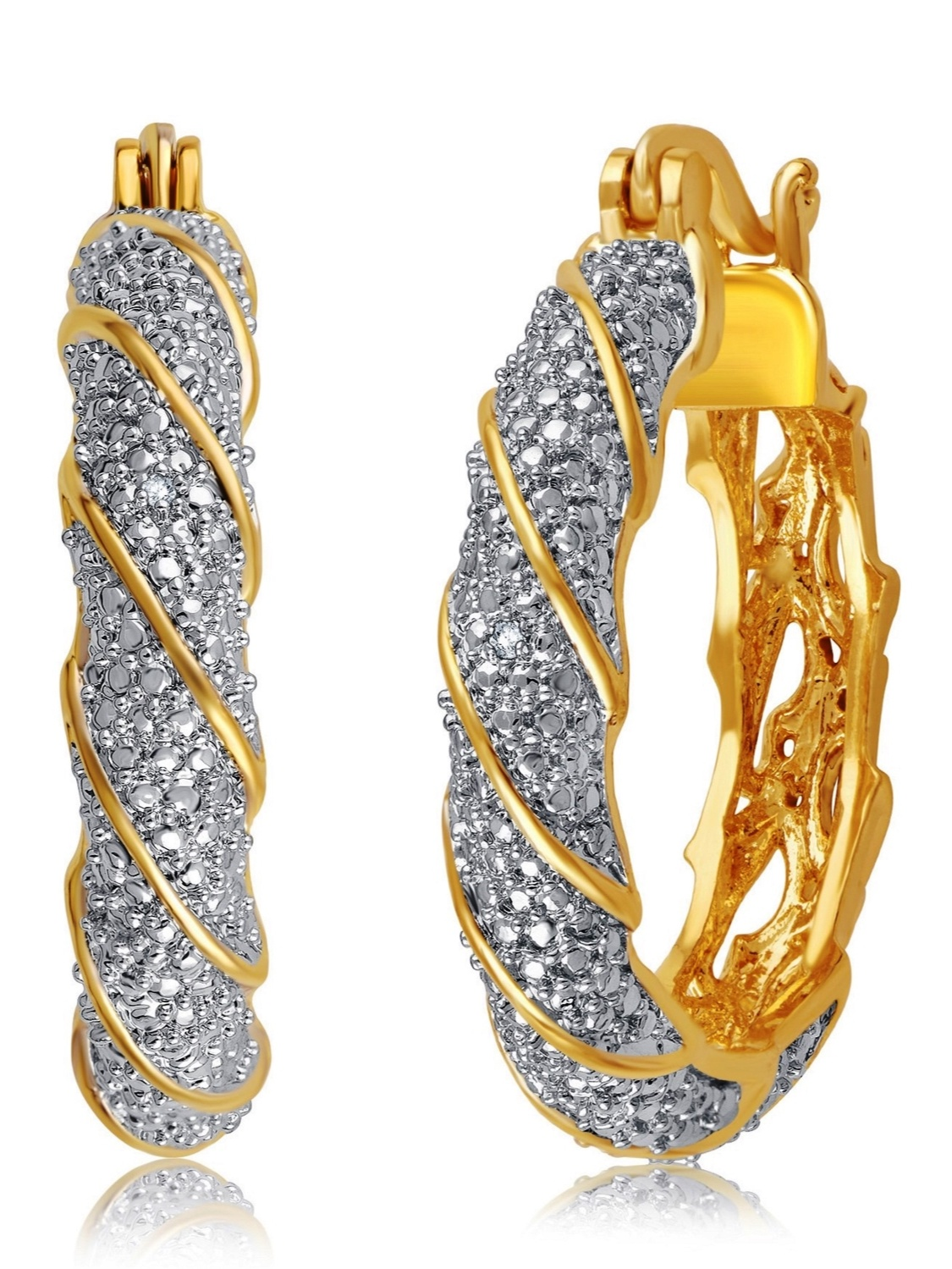 Luxurious 0.02 Cttw Natural Diamond Accent Twisted Hoop Earrings In 14K Yellow Gold Plated